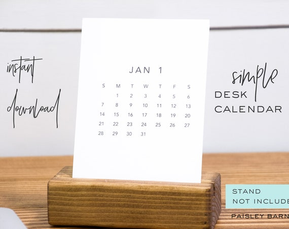 Simple Desk Calendar INSTANT DOWNLOAD | printable, home organization, cleaning, planner, organize, schoolhouse