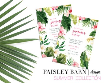 Tropical Foliage Invite   Printable Digital File   Skincare, Printed, BBL, Happy Hour, girls night, invitation, philodendron, palm, summer