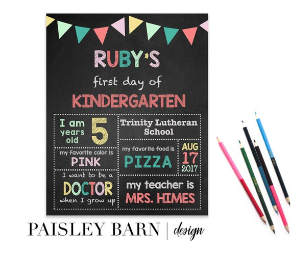 First Day of School Print | Girls, digital download, custom, printable, chalkboard, 1st day of Kindergarten, preschool, school signs, pink