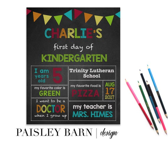 First Day of School Print | Boys, digital download, custom, printable, chalkboard, 1st day of Kindergarten, preschool, school signs