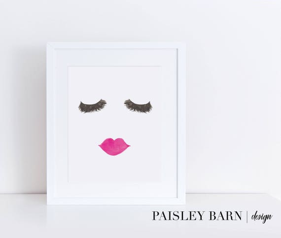 Lashes and Lips Print |  5x7 8x10 8x8 | watercolor, Instagram, boss babe, girl boss, home decor, office, wall art, teen