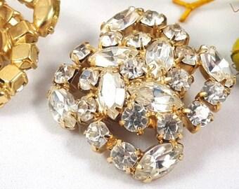 Kramer Rhinestone Clip On Earrings, Vintage Jewelry, 1960s, Mid Century, Crystal Earrings, Gold Earrings, Bridal Earrings, Designer Jewelry