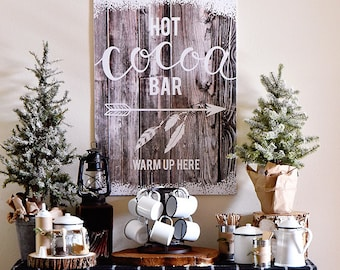 Hot Chocolate Bar Sign - Cabin in the Woods Edition - INSTANT DOWNLOAD