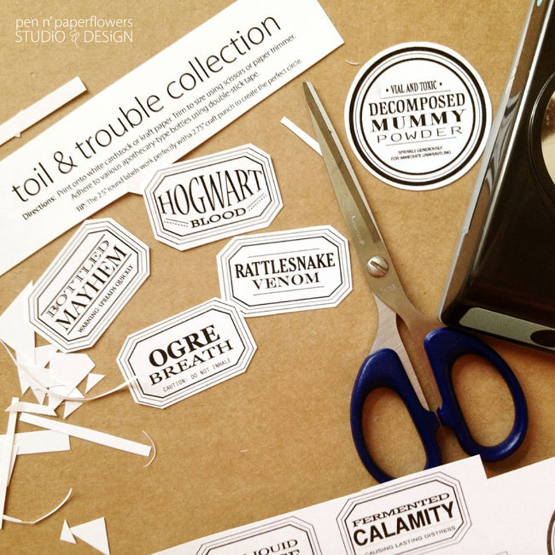 Apothecary Jar Halloween Labels INSTANT DOWNLOAD