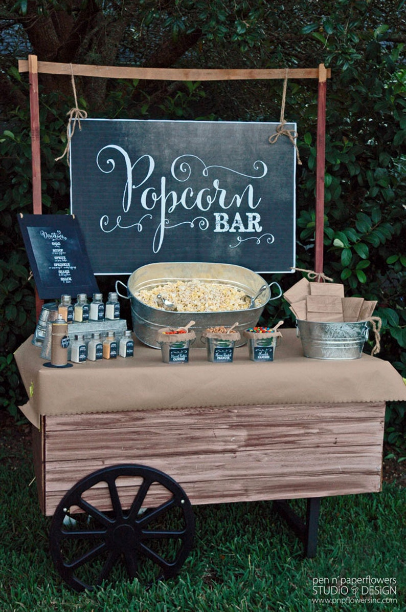 Popcorn Bar Collection  Chalkboard Edition  INSTANT DOWNLOAD image 0