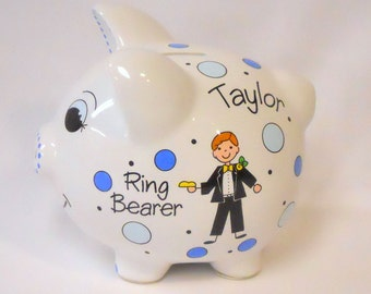 Ring Bearer Gift for Wedding Piggy Bank Personalized