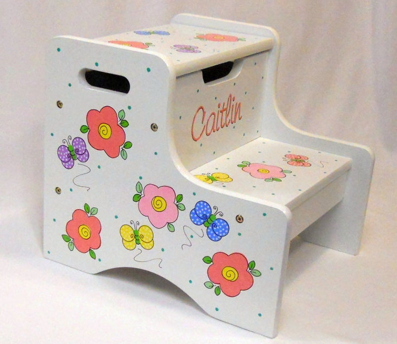 Large Personalized Two Step Stool with Pink Flowers and Butterflies