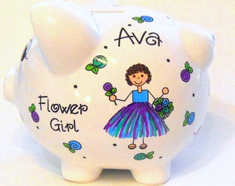 Personalized Flower Girl Gift Dress with Tutu Piggy Bank