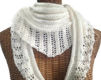 Écharpe en tricot blanc dentelle coton laine de mérinos 7575e1c5d1e