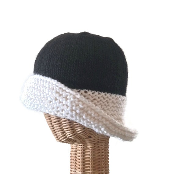 Knit Hat Wide Brim Cloche Black and White Wool  f203301fd28
