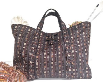 Knitting Project Bag Upholstery Fabric Brown Black Knitter's Tote Bag Lined Inside Pocket Button Closure Knitting Organizer