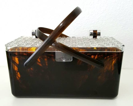 Tortoise Shell Lucite Purse. Fashionable 50's Box Purse with Handles
