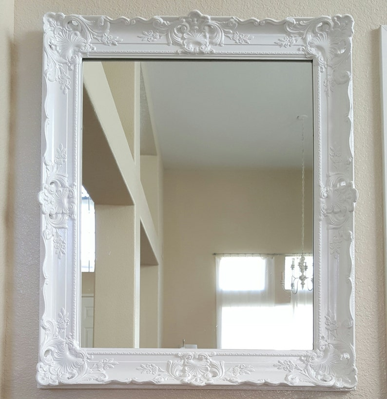 WHITE ANTIQUE Ornate Framed MIRROR. Solid wood antique frame. image 0