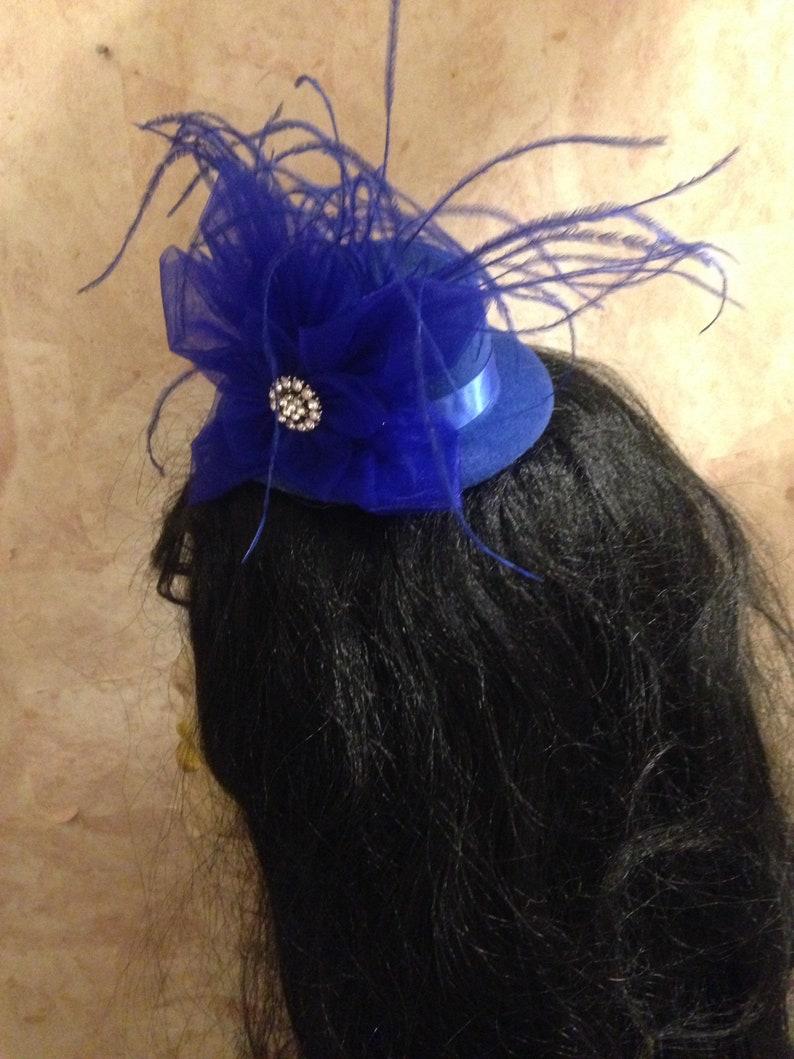 Wedding Hat Cocktail Party Hat Derby Hat Royal Blue Mini Hat