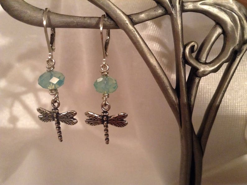 Dragonfly Sterling Silver Pacific Opal Rondelle Earrings