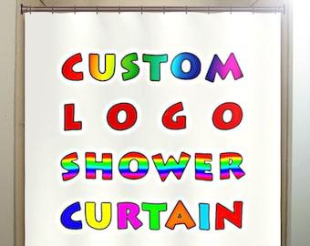 Custom Logo Shower Curtain Personalize Photo Design Print Picture Image Bathroom Decor Fabric Kid Extra Long Color Window Panel Rug