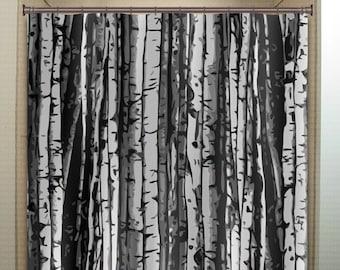 Forest Gray Birch Tree Shower Curtain Extra Long Fabric Window Panel Kids Bathroom Decor Custom Valance Bathmat 84 96 Inch 108