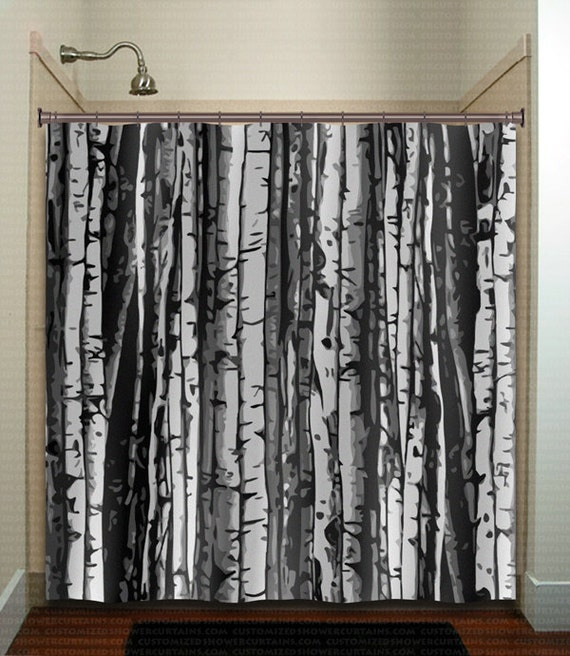 Forest Gray Birch Tree Shower Curtain Extra Long Fabric Etsy