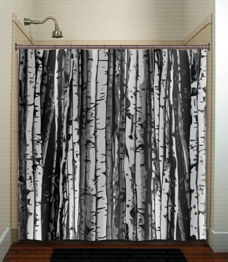 Forest Gray Birch Tree Shower Curtain Extra Long Fabric
