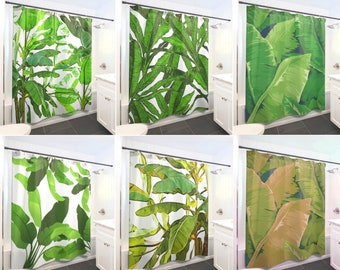 Tropical Jungle Palm Banana Leaf Shower Curtain Extra Long, Fabric Shower Curtains Stall, Custom Wall Tapestry, Window Valance Cafe Panels