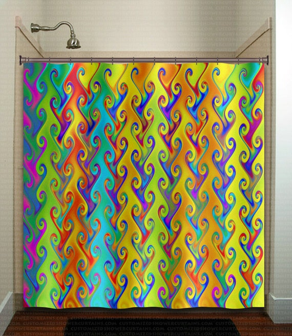 Rainbow Colors Multicolor Bright Colorful Shower Curtain