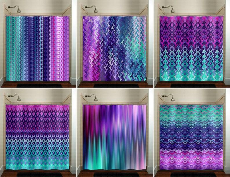 Teal Purple Shower Curtain Extra Long Fabric Window Panel