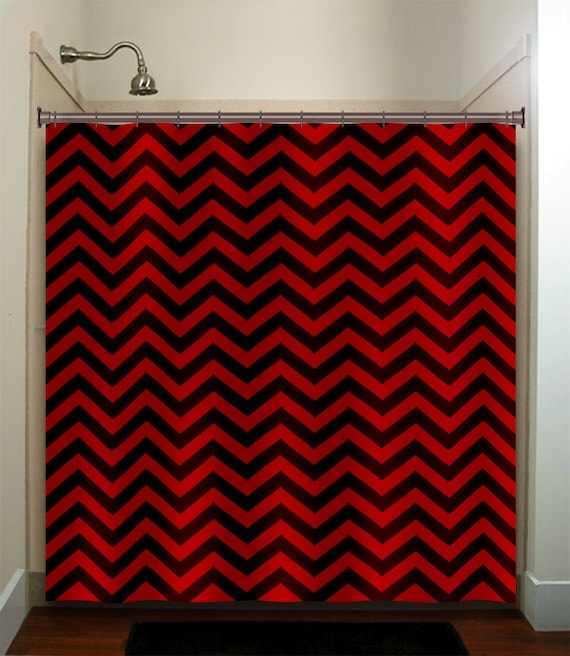 classic black red chevron shower curtain extra long fabric