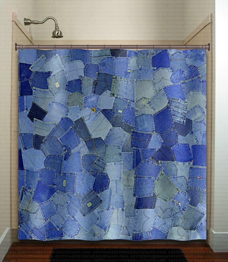 Blue Jeans Pocket Denim Shower Curtain Extra Long Fabric