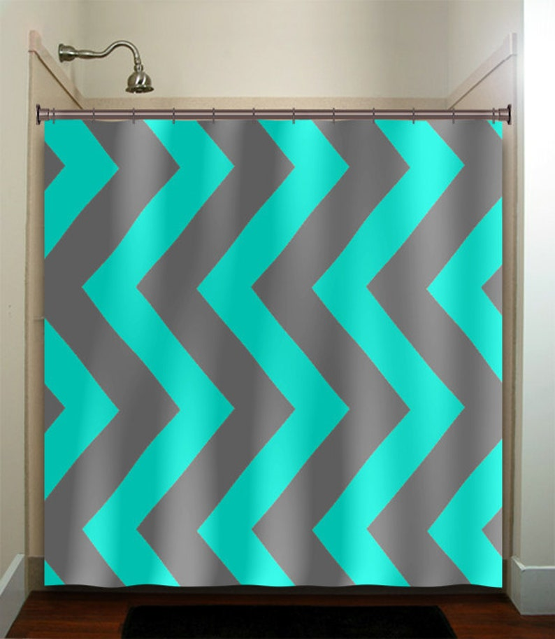 Aqua Blue Gray Chevron Turquoise Shower Curtain Extra Long Fabric Window Panel