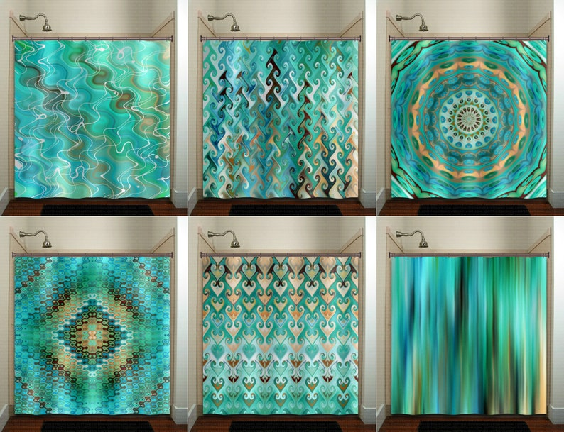 Aqua Turquoise Teal Shower Curtain Extra Long Fabric Window
