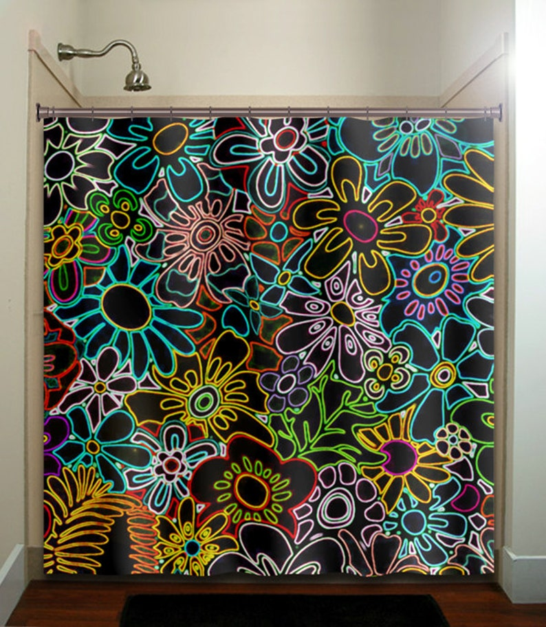 Retro Chic Floral Neon Flowers Shower Curtain Extra Long