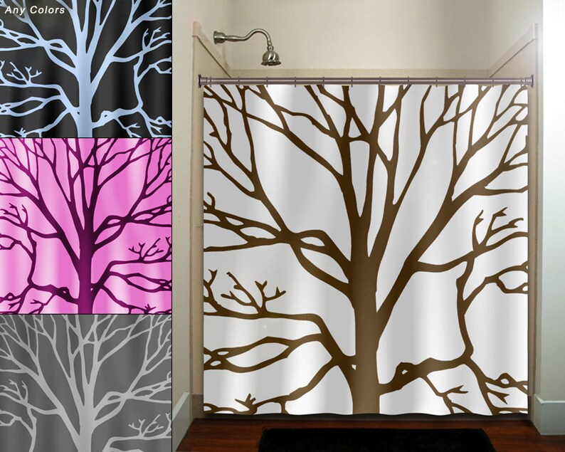 Brown Tree Branches Shower Curtain Extra Long Fabric Window Panel Kids Bathroo