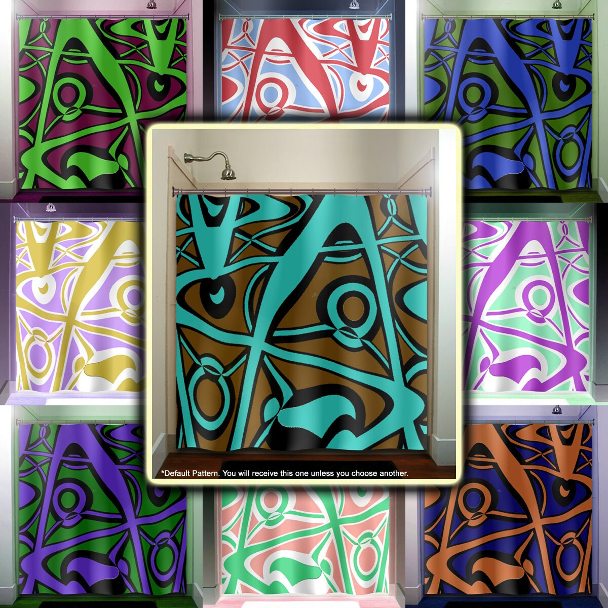 Abstract Turquoise Brown Modern Shower Curtain Extra Long