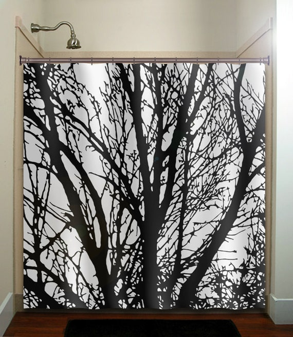 black tree branches shower curtain extra long fabric window