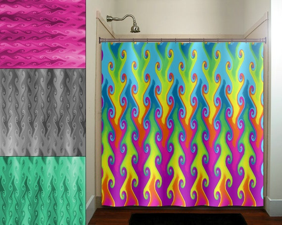 Rainbow Teal Pink Bright Colorful Shower Curtain Extra Long