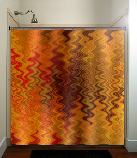Fire Tapestry Flame Orange Brown Shower Curtain Extra Long
