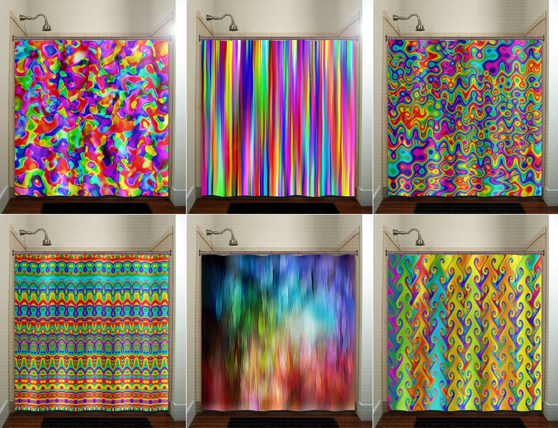 Colorful Rainbow Shower Curtain Wall Tapestry Extra Long Fabric Window Panel Kids Bathroom Decor Custom 84 96 Inch Stall 108 90 78 54