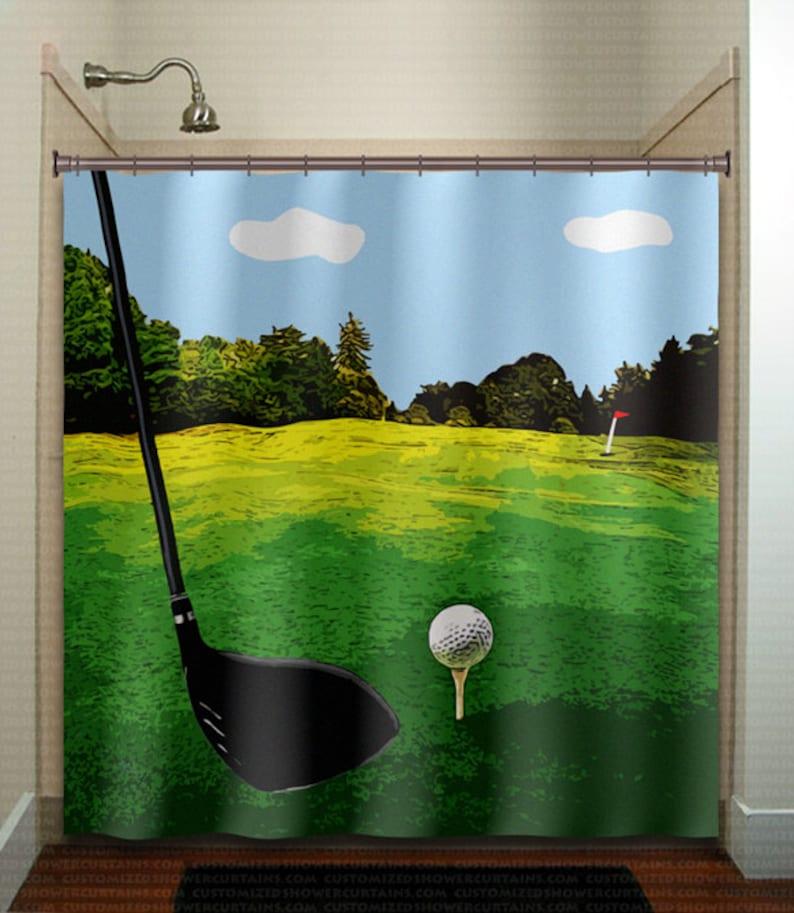 Golf Shower Curtain Extra Long Fabric Window Panel Kids