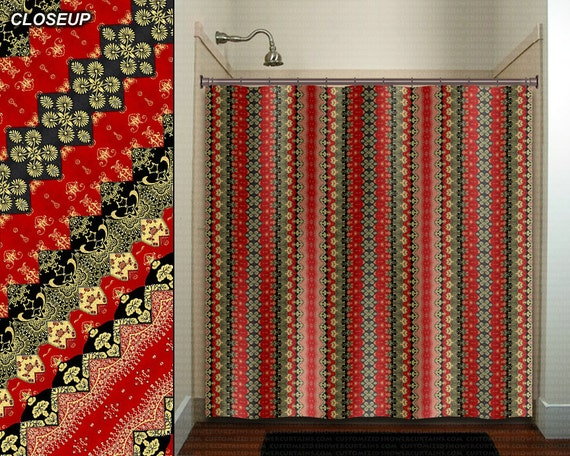asian shower curtain Red