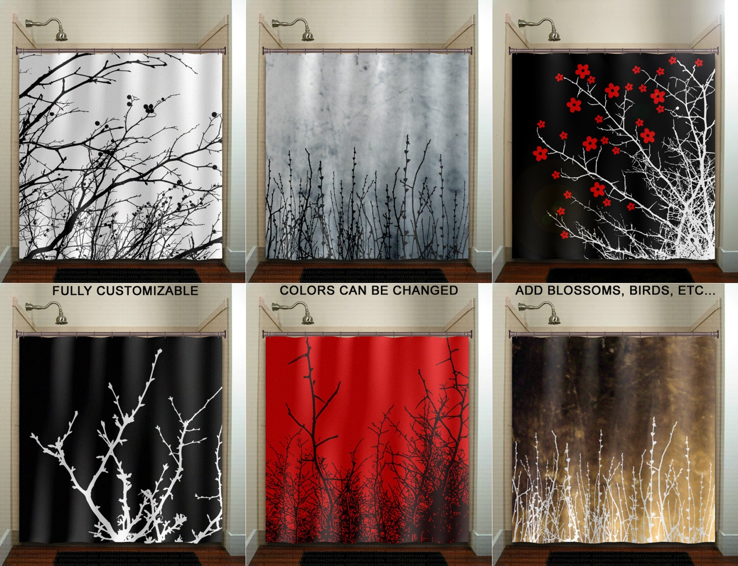 Tree branch willow twigs shower curtain extra long fabric etsy