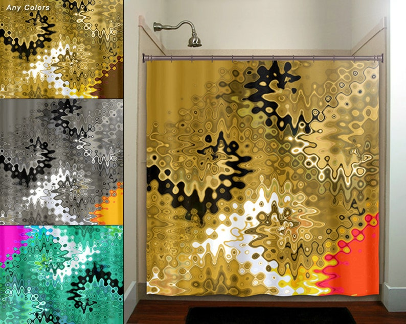 Beautiful Golden Gold Shower Curtain Extra Long Fabric Window