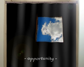 window of opportunity inspirational shower curtain, extra long fabric window panel, kids bathroom decor, custom valance bathmat, personalize