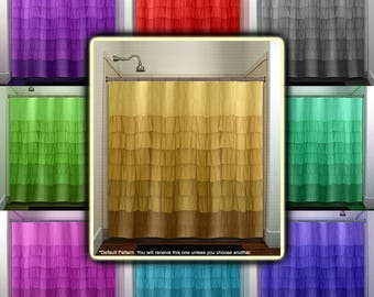 printed digital ruffles shower curtain, extra long fabric window panel, kids bathroom decor, custom valance bathmat, personalize towel rug