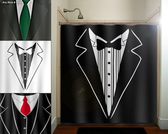 groom tuxedo dinner suit tie mens shower curtain, extra long fabric window panel, kids bathroom decor, custom valance bathmat, personalize