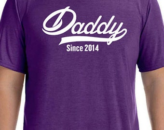 Fathers Day Gift DADDY Since ( ANY YEAR) Mens T shirt Husband Gift Daddy Gift New Dad Newborn Shirt Personalized