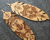 Wolf Feather Bookmark, Wolf Bookmark, Wood Bookmark, Bookmark Exchange, Christmas Tree Ornament, Bookmark, Wolf Gift