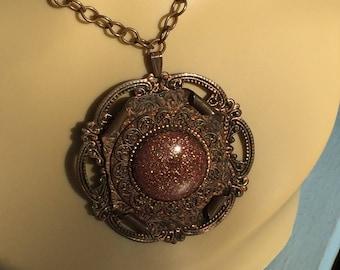 Elegant Goldstone and Copper Parure Necklace, Bracelet, Earrings