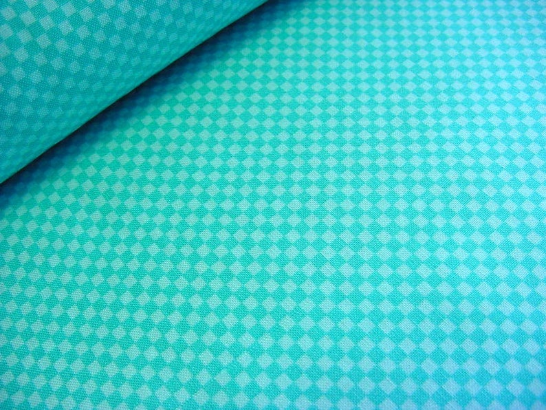 Aqua Turquoise Gingham Check Cotton Fabric  OOP Stix & image 0