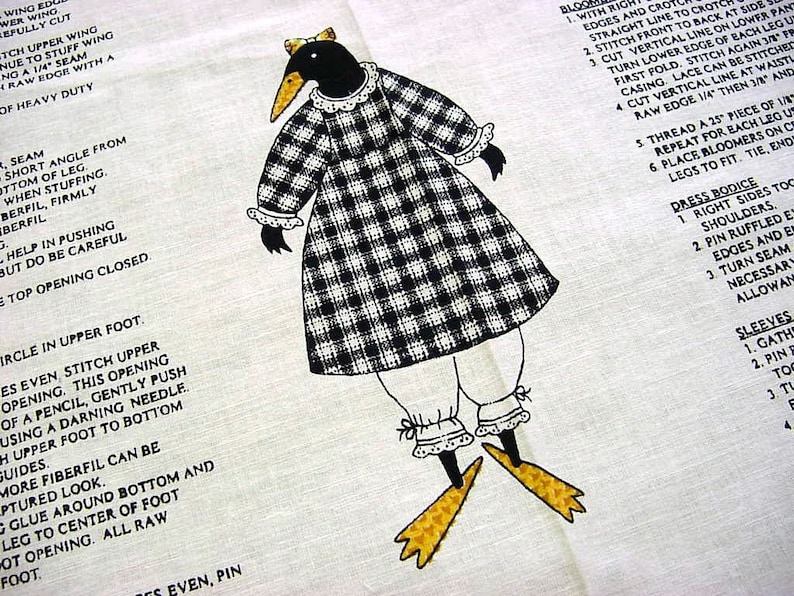 7cdc81927 Black Crow Fabric Panel Ms. Crow Toy Doll to Cut Sew