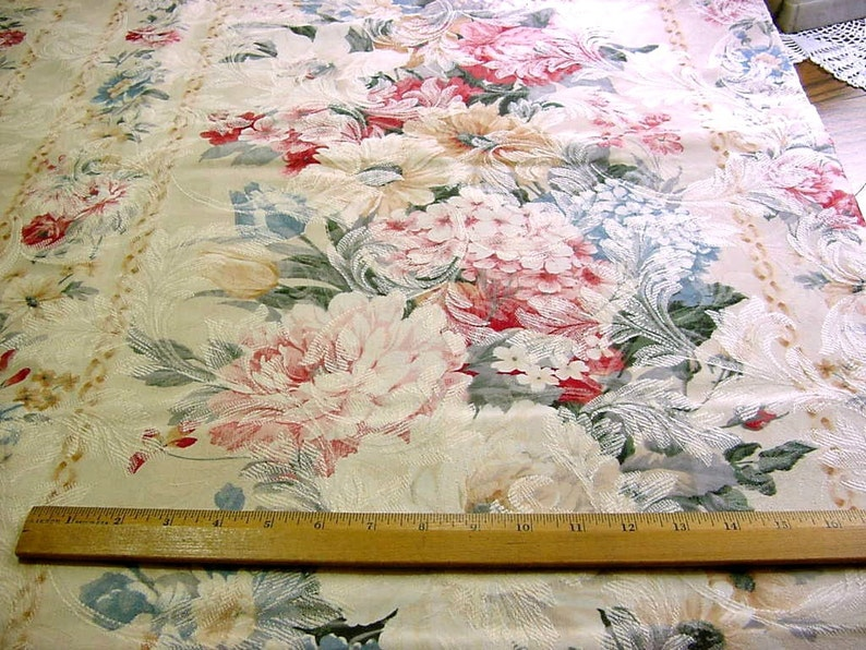Rose Hydrangea Peony Tulip Daisy Flowers Romantic Victorian Cottage Chic Pink Blue Sage Vintage BTY Floral Upholstery Decorator Fabric